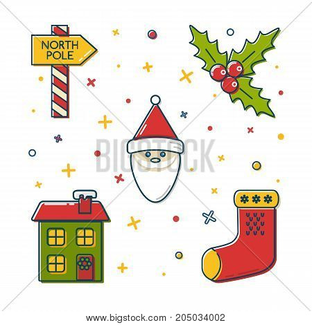 Collection of colored Christmas and New Year icons in thin line style. North Pole signpost, mistletoe branch, Santa Claus, holiday house and traditional stocking.