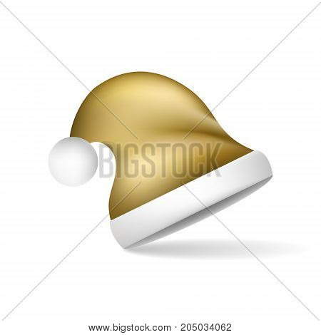 Gold Christmas Santa Claus hat. Vector illustration on a white background with shadow.