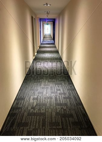 Dark Aisle In An Office Building In China