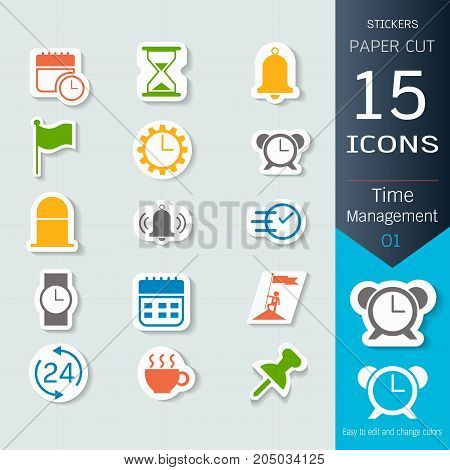Time management related infographic icons set, Vector Illustrations stickers and paper cut style, Easy to editable and change, Separate background, Expand to any size, Change to any colour.