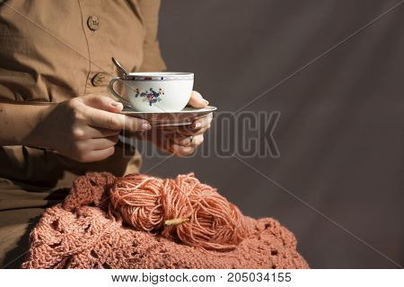 Crochet. The concept of hobbies and leisure. Close-up photo. Copy space.