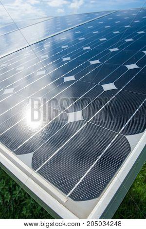 Solar panel in solar farm - stock image