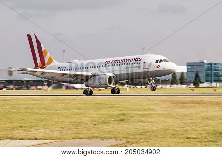 PRAGUE CZECH REPUBLIC - SEPTEMBER 20 2017: Airbus A320 Germanwings Lufthansa Group landing in Prague Airport.