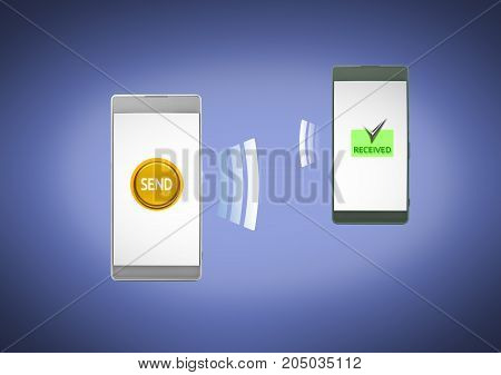 Mobile phone easy data sending to received with smartphone and cellular internet networking wireless. 3D illustration.
