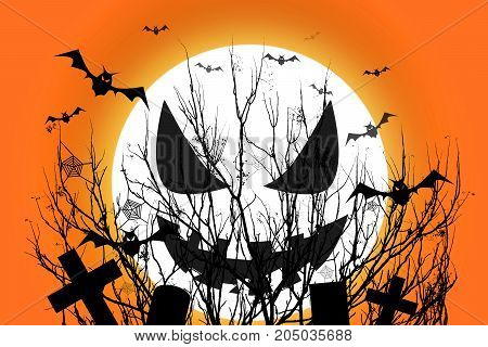 Halloween scary full moon and dead tree together with a horror black bat in cemetery spooky which has a orange backdrop. illustration design. Halloween day concept.