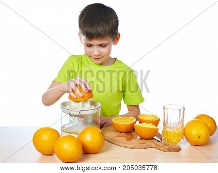 Happy Boy With Orange And Juicer Isolated
