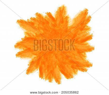 Colorful powder explosion set isolated on white background.
