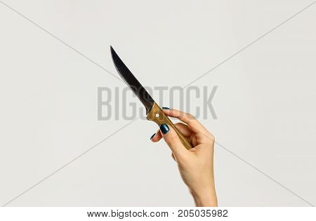 Female Hands Holding A Sharp Kitchen Knife With A Wooden Handle. Isolated On Gray Background. Closeu