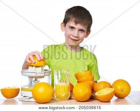 Happy Boy Makes Orange Juice Isolated