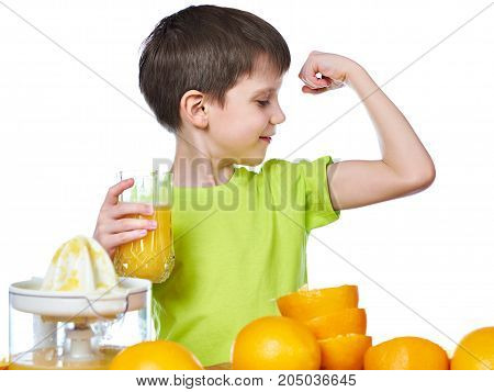 Boy With Orange Juice Looking At Biceps Muscle Isolated