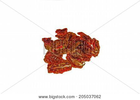 Homemade Sun Dried Tomatoes Isolated on white background