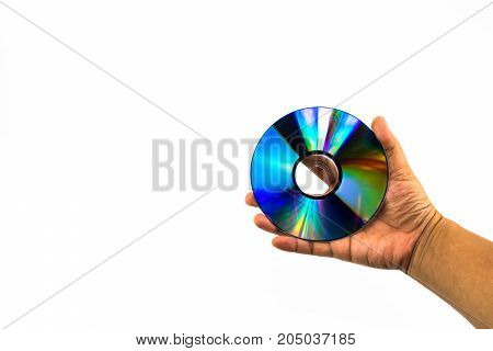 Cd-rom Disc With Rainbow Reflective Light On Man Hand Isolated