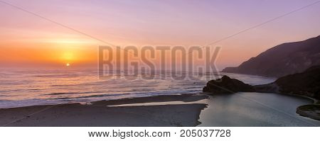 Sunset over Little Sur River. Big Sur, Monterey County, California, USA.