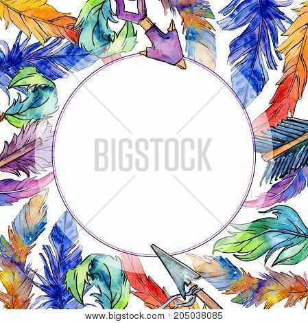 Watercolor bird feather frame from wing. Aquarelle feather for background, texture, wrapper pattern, frame or border.