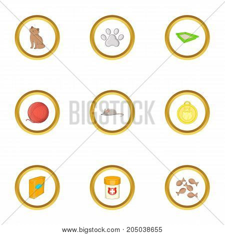 Cat things icons set. Cartoon style set of 9 cat things vector icons for web design
