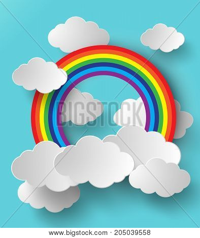 Abstract paper rainbow. Vector illustration.rainbow and clouds