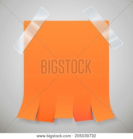 Blank orange advertisement with tear off tabs and adhesive tape. Ad concept. Vector illustration