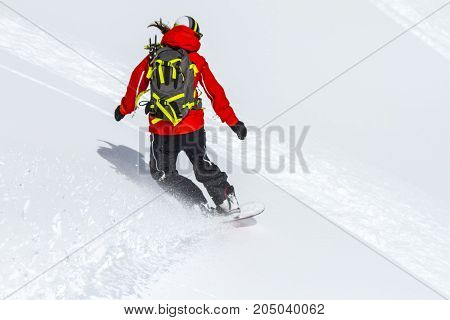 Freeride on slope in Chile mountains, september