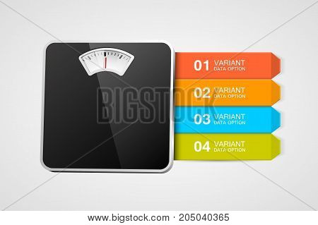 Bathroom scale with infographics or steps. Steps to healthy life. Vector illustration