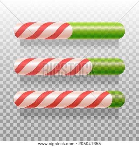 Vector illustration of three candy cane progress bars. Loading, sugar level, indicator. Christmas concept. Can be used for greeting card, posters, web design