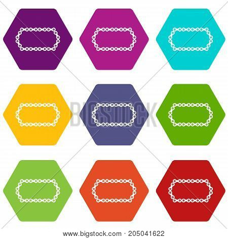 Bicycle chain icon set many color hexahedron isolated on white vector illustration