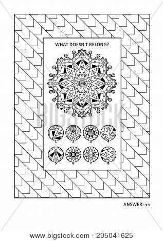 Puzzle and coloring activity page for grown-ups with visual logic puzzle and wide decorative frame to color. Family friendly. Answer included.