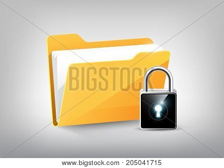 Yellow document file folder directory icon isolated and modern high technology padlock shield on white grey, transparent vector