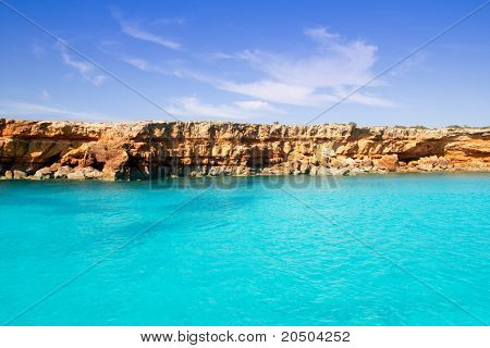 Formentera balearic island from sea west coast red mountains poster
