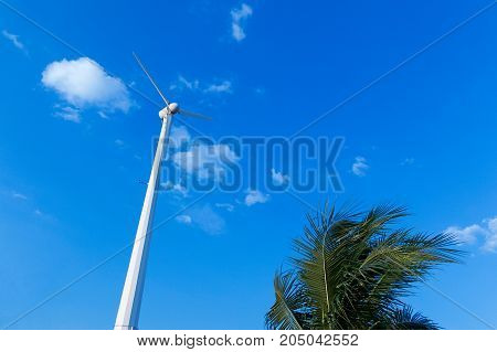 clean energy concept. wind turbine renewable energy source