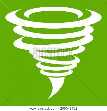 Tornado icon white isolated on green background. Vector illustration