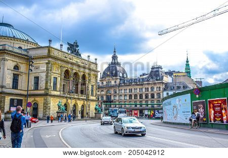 COPENHAGEN, DENMARK - JULY 20: A cloudy day in the street of Copenhagen, Denmark