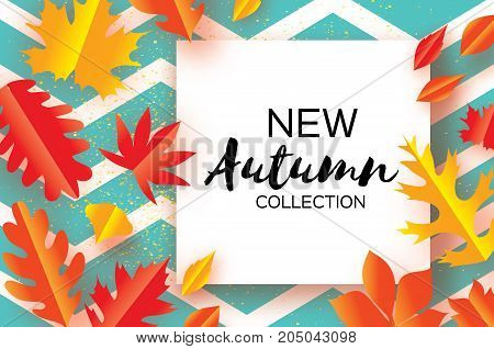 Beautiful Gold Autumn paper cut leaves. Hello Autumn. September flyer template. Square frame. Space for text. Origami Foliage. Maple, oak. Fall zigzag poster background. Vector illustration.