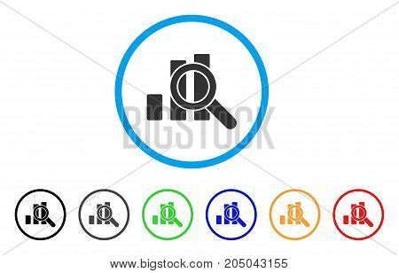 Explore Graphics rounded icon. Style is a flat explore graphics gray symbol inside light blue circle with black, gray, green, blue, red, orange color versions.