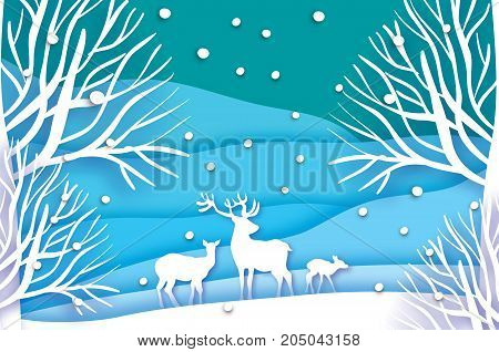 Paper cut deer family in snowy forest and landscape. Merry Christmas Greeting card. Origami winter season. Happy New Year. Birch trunk. Paper art style. Blue background. Vector illustration