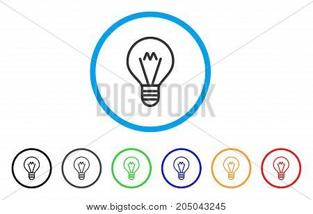 Hint Lamp rounded icon. Style is a flat hint lamp gray symbol inside light blue circle with black, gray, green, blue, red, orange color versions. Vector designed for web and software interfaces.