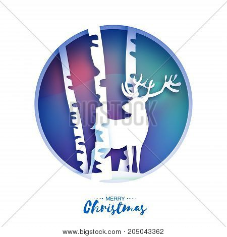 Paper cut deer in snowy birch forest. Merry Christmas Greeting card. Origami winter season. Happy New Year. Birch trunk. Paper art style. Blue gradient background. Circle frame. Vector illustration