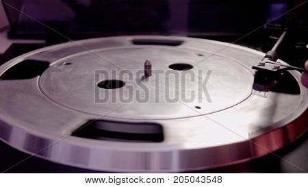 Parts Of A Vinyl Player Close-up. Playing Old Vinyl Records, A Culture Of Vinyl Music