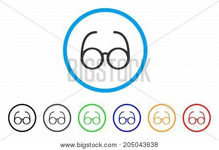 Spectacles rounded icon. Style is a flat spectacles gray symbol inside light blue circle with black, gray, green, blue, red, orange color versions. Vector designed for web and software interfaces.