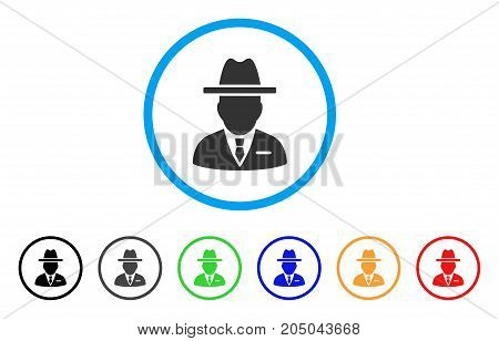 Spy Person rounded icon. Style is a flat spy person grey symbol inside light blue circle with black, gray, green, blue, red, orange variants. Vector designed for web and software interfaces.
