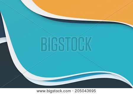 Blue yellow and white abstract curve modern concept presentation background