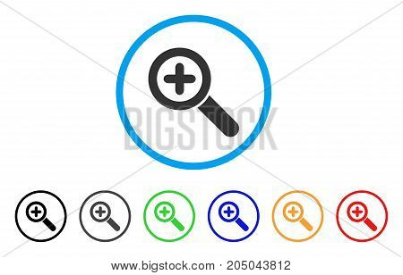 Zoom In rounded icon. Style is a flat zoom in gray symbol inside light blue circle with black, gray, green, blue, red, orange color versions. Vector designed for web and software interfaces.