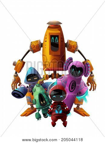 Cool Character: Five Robots making a Team Pose isolated on White Background. Video Game's Digital CG Artwork, Concept Illustration, Realistic Cartoon Style Background and Character Design