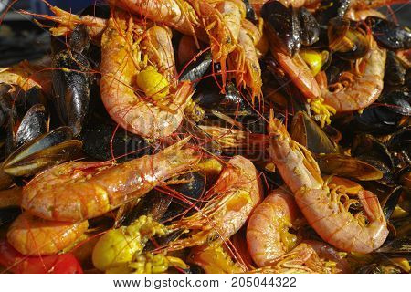 Fresh Prepared Traditional Food - Paella With Schrimps, Prawns, Mussels On The Street Market