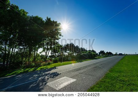 Empty Asphalt Country Road Passing Through Green Fields And Forests. Countryside Landscape On A Sunn