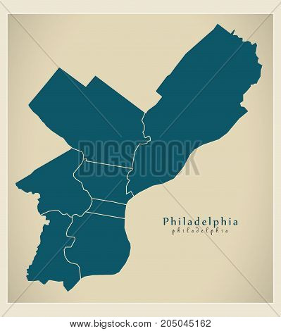 Modern City Map - Philadelphia City Of The Usa With Boroughs