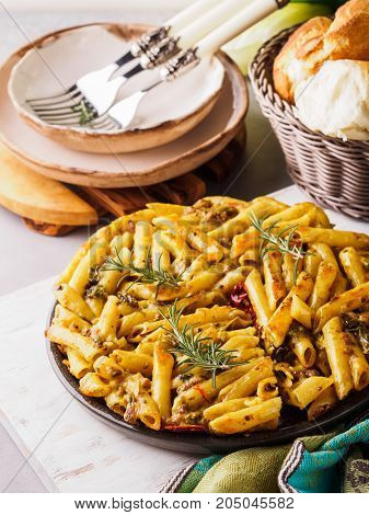 Italian Fried macaroni pizza with penne and bell peppers