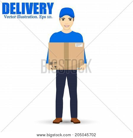Delivery man isolated on background. Vector illustration. Eps 10. Smiling Courier Delivering Packages.