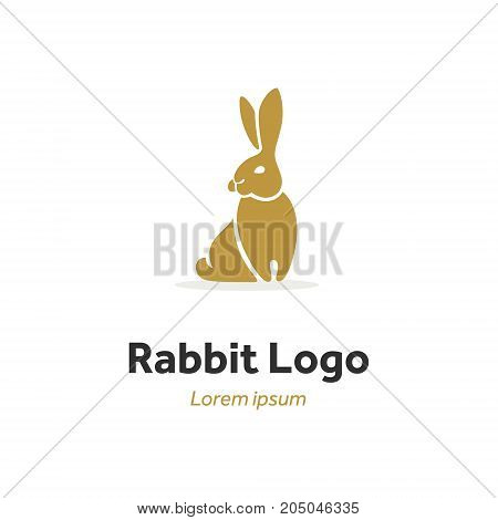 modern brand, silhouette of a hare, a rabbit sits and looks aside