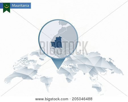 Abstract Rounded World Map With Pinned Detailed Mauritania Map.