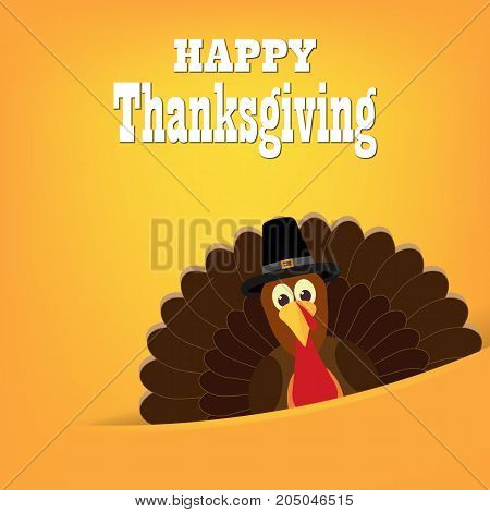 Colorful cartoon of turkey bird for Happy Thanksgiving celebration. Thanksgiving Turkey Bird Wearing A Pilgrim Hat Under Happy Thanksgiving Text. Vector illustration.